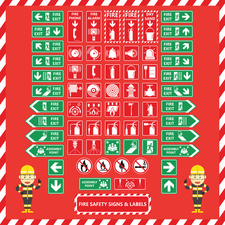 Set of Fire Safety Signs and Labels with Cute Fire Fighter Cartoon Design Illustration