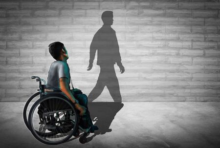 Disabled man sitting in a wheelchair. This sleek took that mirrored wall standing and walking. Banque d'images