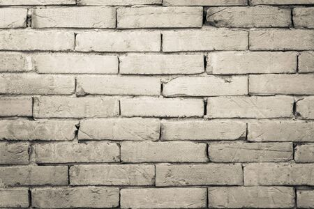 floor covering: Black and white brick wall texture background  Wall texture background flooring interior rock stone old pattern clean concrete grid uneven bricks design stack. Stock Photo