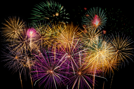 Fireworks Celebration at night on  New Year and copy space - abstract holiday background Banque d'images