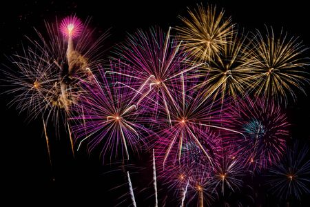 Fireworks Celebration at night on  New Year and copy space - abstract holiday background Standard-Bild
