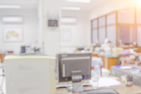 shallow: Businessmen blur in the workplace or work space of table work in office with computer or shallow depth of focus of abstract background.