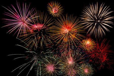 Fireworks Celebration at night on New Year and copy space - abstract holiday background.