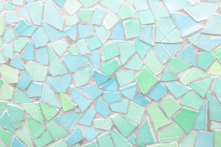 Broken tiles mosaic seamless pattern. Blue and Green the tile wall high resolution real photo or brick seamless and texture interior background.
