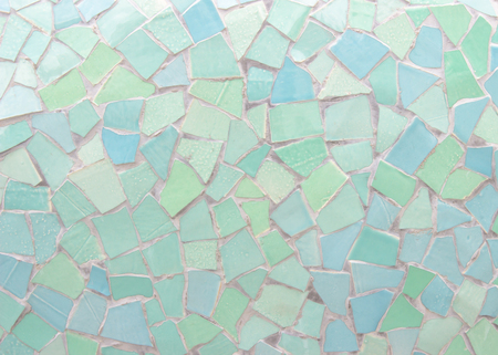 Broken tiles mosaic seamless pattern. Green and Blue the tile wall high resolution real photo or brick seamless and texture interior background. Stock Photo