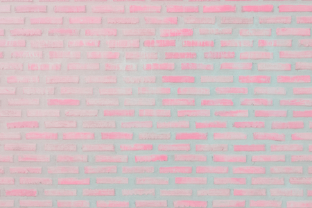 Pastal Pink and White brick wall texture background. Brickwork or stonework flooring interior rock old pattern clean concrete grid uneven bricks design stack.