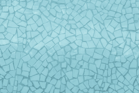 Broken tiles mosaic seamless pattern. Blue tile real wall high resolution real photo or brick seamless with texture interior background. Abstract wallpaper irregular in bathroom.