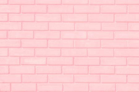 Pastal Pink and White brick wall texture background. Brickwork or stonework flooring interior rock old pattern clean concrete grid uneven bricks design stack.
