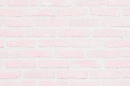 Abstract Pastel Pink and White brick wall texture background pre wedding. Brickwork or stonework lovely flooring interior rock old pattern clean concrete grid uneven bricks, design valentine day.