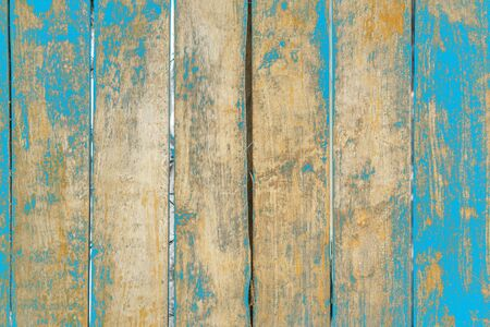 Old grunge wood plank texture background. Vintage blue wooden board wall have antique cracking style background objects for furniture design. Painted weathered peeling table woodworking hardwoods. Stock fotó