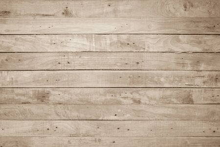 Brown Wood texture background. Wood planks old of table top view and board wooden nature pattern are grain hardwood panel floor. Design timber vintage wall textured material for banner copy space. Banco de Imagens