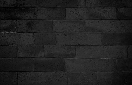 Abstract dark brick wall texture background pattern, Wall brick surface texture. Brickwork painted of black color interior old clean concrete grid uneven, Home or office design backdrop decoration.