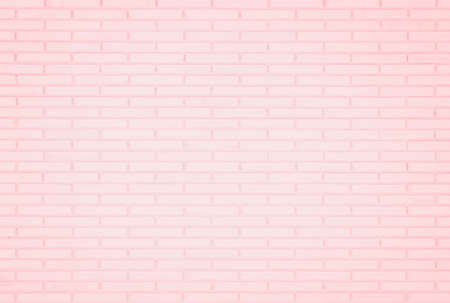Pastel Pink and White brick wall texture background. Brickwork or stonework flooring interior rock old pattern clean concrete grid uneven brick design stack. Home or office design backdrop decoration. Banque d'images - 151149780