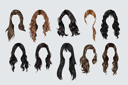 Set of different women hairstyles and hair colors Ilustración de vector