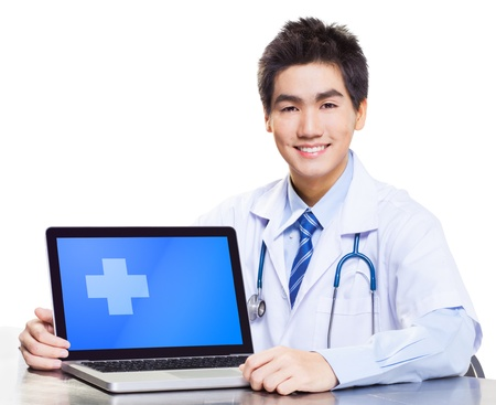 Asian doctor with laptop photo
