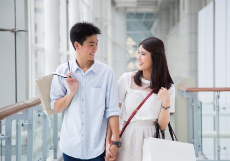 man shopping: Asian couple go shopping together.