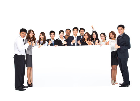 Business Team with empty banner photo