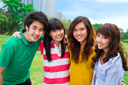 colored school: Group of Asian young people