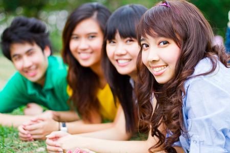 asian group: Group of Asian young people