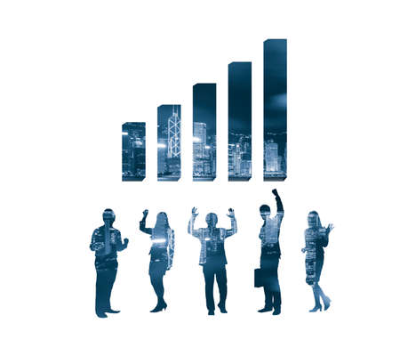 layer mask: Business chart and people Stock Photo
