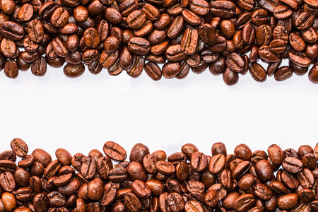 coffeebeans: coffee beans stripes isolated in white background Stock Photo