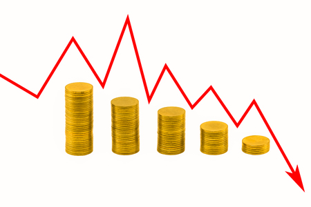 argent: Pile of golden coins and downside growing arrow graph Stock Photo