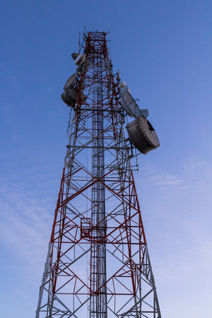 communication tower: communication tower on bluesky background Stock Photo