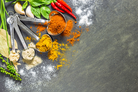 repast: Herbs and spices put on the spoon, close up