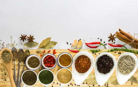 spices: spices and herb on the white background,selective focus