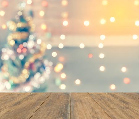 bokeh chispa del árbol de navidad, plantilla maqueta para la exhibición de su producto para el fondo de Navidad, la tonificación de la vendimia