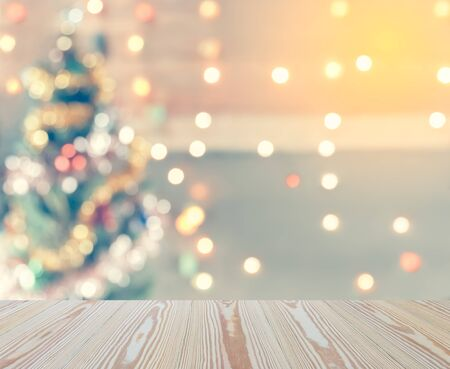 sparkle bokeh of Christmas tree, Template mock up for display of your product for Christmas background, vintage toning Imagens - 48269014
