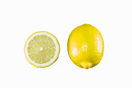 lemon and half isolated on the white background
