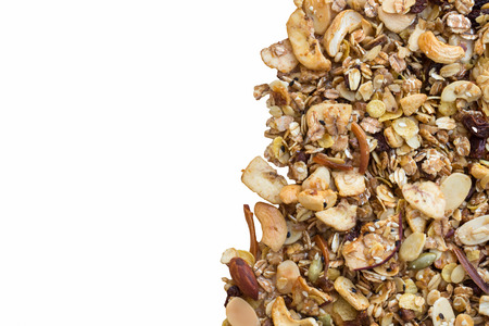 gluttonous: Pile of granola cereal isolate on white Stock Photo