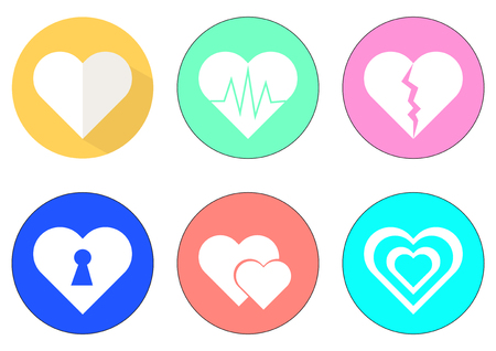 pellucid: Vector hearts icon set with colorful hearts