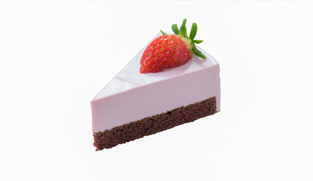 lambent: strawberry chocolate cheese cake isolated on white background, with clipping path Stock Photo