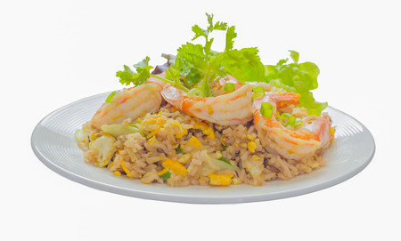 isolate on white with clipping path of close up of shrimp fried rice,selective focus Standard-Bild