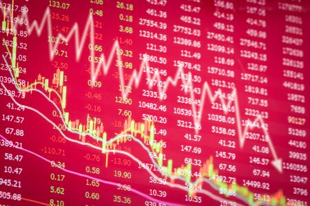 downturn: crisis of stock market concept,downturn of red graph Stock Photo