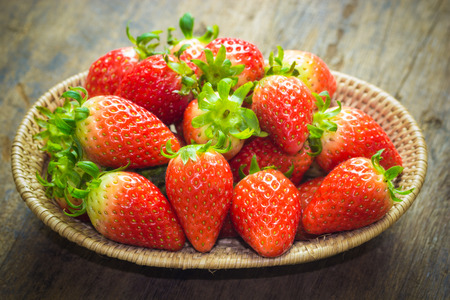 repast: close up of group of fresh red strawberry,made with filter Stock Photo