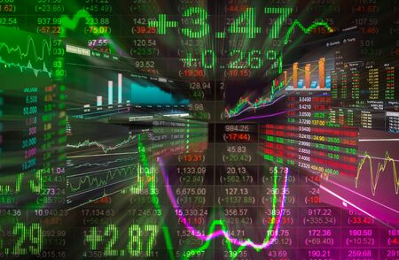 led display: Financial data on a monitor,Stock market data on LED display concept