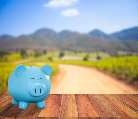 lambent: blue pig bank on wood background  with blur mountain and field background,money and saving concept.