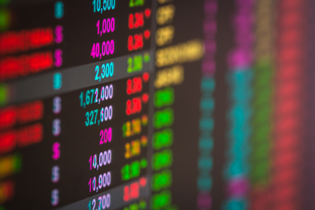 ticker: Financial data on a monitor,stock ticker change,stock market data on LED display concept