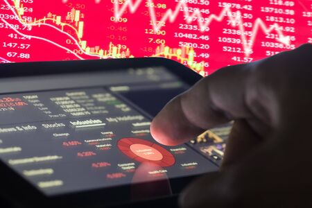 led display: Financial data on a monitor,selective focus on LED monitor, stock market data on LED display concept