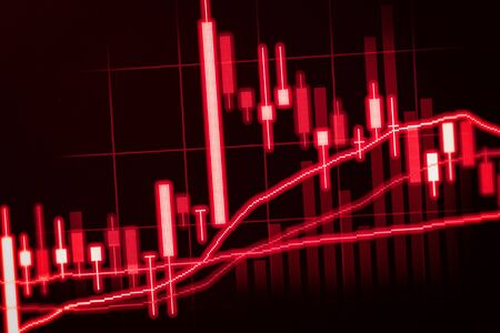 led display: Financial data on a monitor,candle stick graph of stock market , stock market data on LED display concept