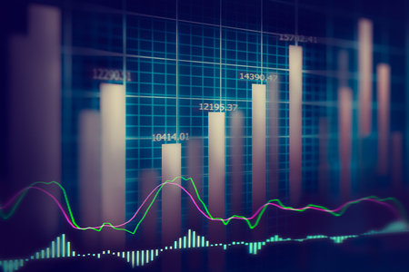 downturn: Financial stock market data.Graph of stock market ,stock market data graph chart on LED concept Stock Photo