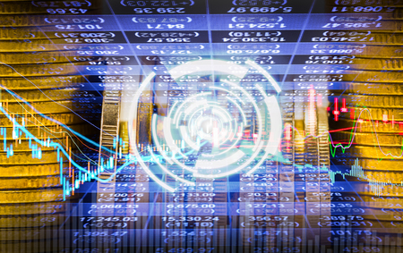 Graph of stock market data and financial with the view from LED display concept that suitable for background,backdrop including stock education or marketing analysis. Stock Photo