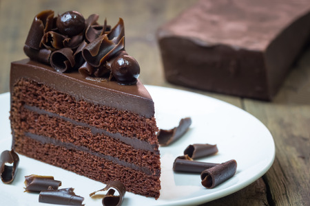 Chocolate fudge cake. Decorate with curl of dark chocolate. It looks soft and delicious. You can apply for website decor, greeting card and artwork design.