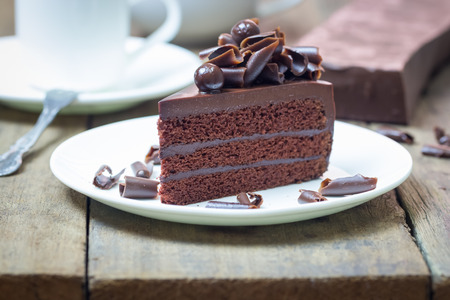 pellucid: Chocolate fudge cake. Decorate with curl of dark chocolate. It looks soft and delicious. You can apply for website decor, greeting card and artwork design.