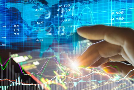 적합: Graph of stock market data and financial with stock analysis indicator the view from LED display concept that suitable for background,backdrop including stock education or marketing analysis.