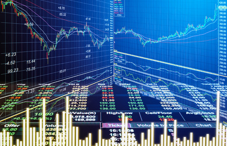 Graph of stock market data and financial with stock analysis indicator the view from LED display concept that suitable for background,backdrop including stock education or marketing analysis.