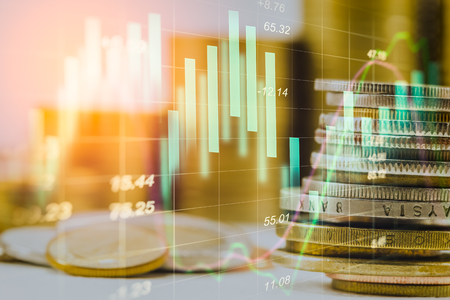 Stock market indicator and financial data view from LED. Double exposure  financial graph and stock indicator including stock education or marketing analysis. Abstract financial indicator background.